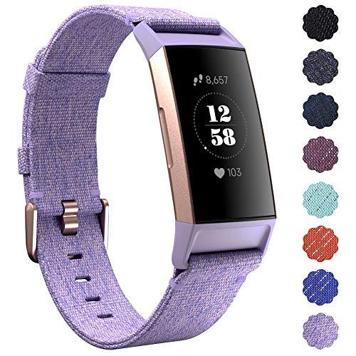 KIMILAR Armbänder Kompatibel mit Fitbit Charge 4 / Charge 3 Armband Stoff, Schnellspanner Nylon Ersatzband Armbänder für Charge 4/3/SE Fitness Tracker -Lavendel