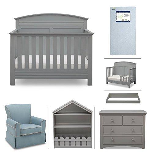 Serta Ashland 7-Piece Nursery Furniture Set - Convertible Crib, Toddler Rail, 4-Drawer Dresser, Changing Top, Bookcase, Crib Mattress and Glider) (Grey)