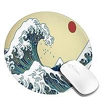 マウスパッド 円柄 和風 太陽 波 富士山 和柄 ゲーミング ゴム底 光学マウス対応 滑り止め エレコム 耐久性が良い おしゃれ かわいい 防水 サイバーカフェ オフィス最適 適度な表面摩擦 直径:20cm