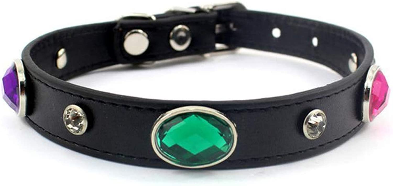 Dixinla Pet Collar Gemstone Leather Collar Neck Rope Acrylic cat Strap