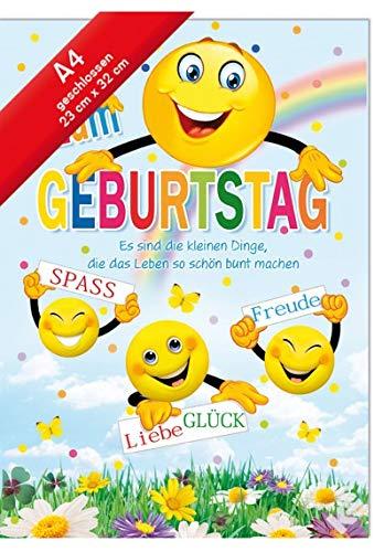 Geburtstags Karte Jumbo - Din A4 - Fröhliche Smileys - die kleinen Dinge.