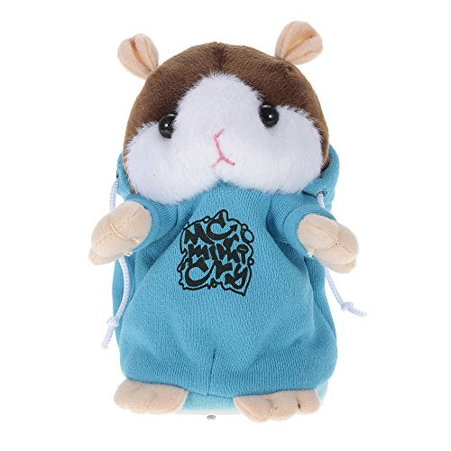 Goolsky Talking Hamster Repite lo que dices Cute Plush Electronic Mimicry Hamster Juguete de peluche interactivo Regalo para niños Cumpleaños y fiesta - AZUL