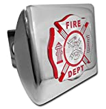 Firefighter (Chrome & Red) ALL METAL Shiny Chrome Hitch Cover