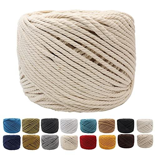 Suntq Handmade Decorations Natural Cotton Bohemia Macrame Cord DIY Wall Hanging Plant Hanger Craft Making Knitting Rope Natural Color Macrame Cord