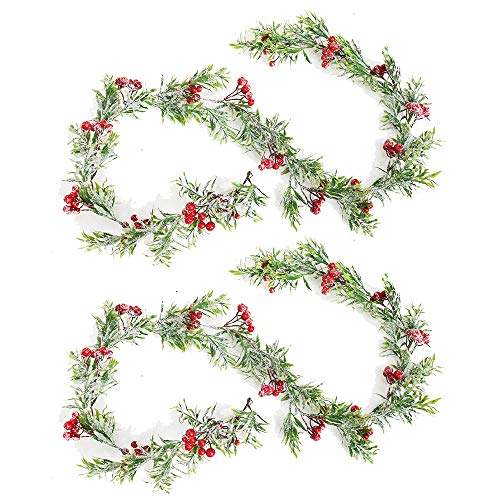 Bestine Artificial Red Berry Garland 170 cm Christmas Garland with Pine Cones and Green Leaves Artificial Red Berry Garland for Christmas, Mantle and Fireplace