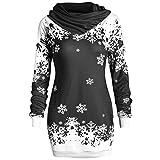 YWLINK Mode Damen Pulli Pullover Rollkragen Frauen Weihnachten Schneeflocke Gedruckte Tops Lang Sweatshirt(M,Schwarz)