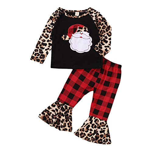 Toddler Baby Girl Christmas Clothes Xmas Outfits Santa Claus Leopard Long Sleeve T-Shirt Top Bell-Bottom Pants 2Pcs Clothes Set (Leopard Plaid, 80(1-2 Years))