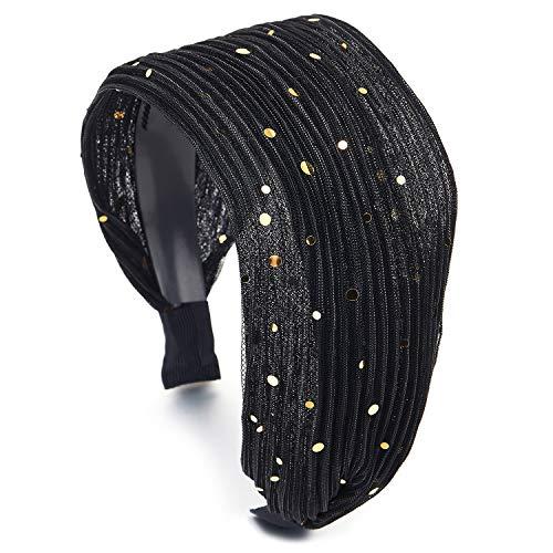 COOLSTEELANDBEYOND Breitseite Schwarz Glänzend Stripes Spitze Haarreif Haarkranz Stirnband Kopfband Haarband Gold Funkeln Pailletten