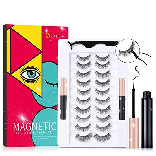 Magnetische Wimpern mit Eyeliner Set, 10 Paare Wiederverwendbare 3D Magnetic lashes Magnetwimpern mit 2 Tuben Magnetic Eyeliner, künstliche Magnetische Wimpern Natürlich Wasserdicht, Geschenkbox