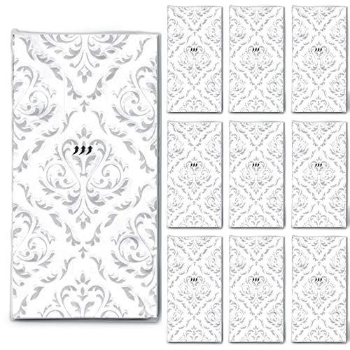 100 Taschentücher Hochzeit geprägt (10x10) Unique Moments für Freudentränen Weiß-Silber