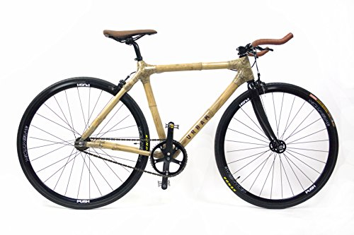 URBAM - Bicicletta in bambù, Fixie/Single Speed Black Edition, naturale, 54 (Für Körpergröße 160-180cm)