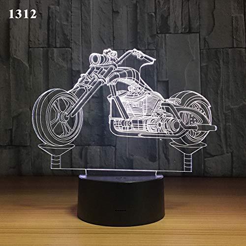 XIEPEI Nachtlicht Motorrad führte Tischlampe USB-Fernbedienungssensorlicht Kreatives Geschenk Neues merkwürdiges Licht der Nacht 3d 1312 Bunt: Crack Timing Fernbedienung