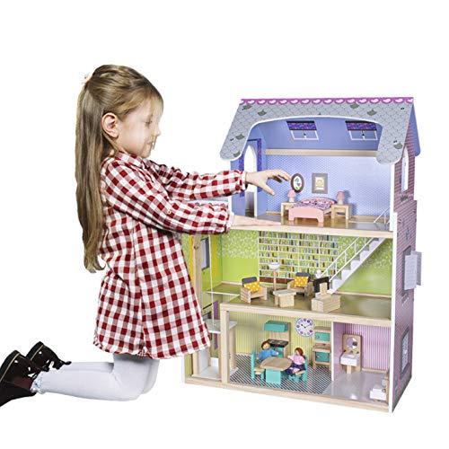 Calma Dragon Casa de Muñecas MTR-1713, de Madera con Muebles y Muñecos Incluidos, Mansion para muñecas, 3 Pisos para muñecas, con Ascensor y Escaleras y 21 Accesorios, 80cm de Altura