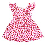 Toddler Girls Valentine's Day Dress Baby Ruffled Stripe Love Heart Print Princess Sundress One-Piece Clothes (Red Heart, 12-18 Months)