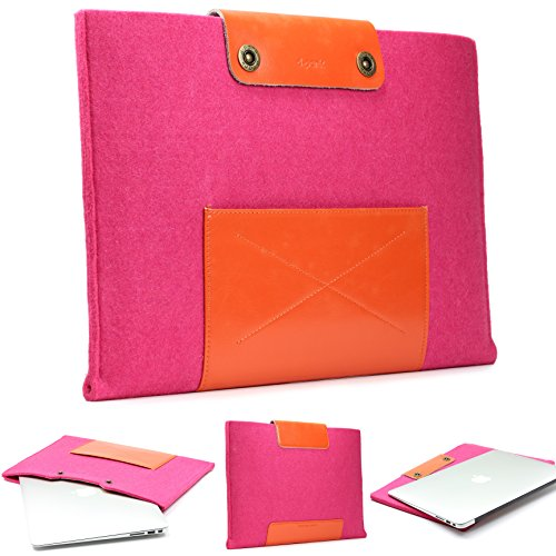 Urcover Handgefertige Designer MacBook Pro 15 Zoll 47 cm Tasche Sleeve Hulle EXTRA Fach fur Maus Ladekabel etc Notebooktasche Ultrabook Schutzhulle Laptophulle in Rosa Orange