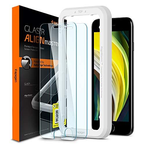 Spigen AlignMaster Verre Trempé Compatible avec iPhone Se 2020, iPhone 8, iPhone 7, 2 Pièces, Résistant aux Rayures, 9H Protection écran