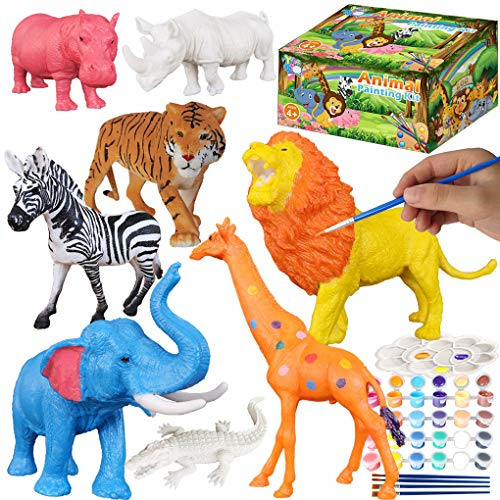 Yileqi Safari Animal Painting Kit for Kids Crafts and Arts Set, Jumbo Jungle Animal Toy Art and Crafts for Boys Girls Age 4 5 6 7 8 Years Old, DIY Art Supplies Paint for Kid Activities Birthday Gift