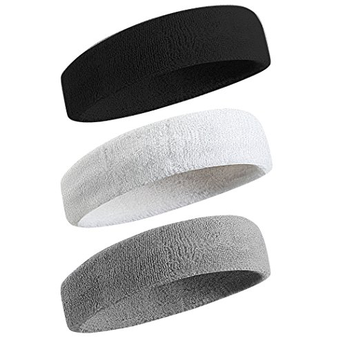 BEACE Sweatbands Sports Headband for Men & Women - Moisture Wicking Athletic Cotton Terry Cloth Sweatband for Tennis, Basketball, Running, Gym, Working Out