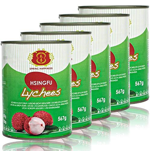 Spring Happiness - 5er Pack Premium Litschis in 567 g Dose - Original Lychee Litchi traditionell eingelegt in Konserve
