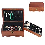 Wooden Jewellery Storage Box, Double Layer with Lock Travel Organizer Case, for Rings, Earrings, Necklace, Gift Perfect for Girls/Women