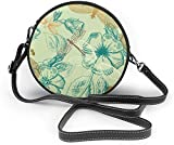 BAODANLA Bolso redondo mujer Nature Insects Green Pattern Women Soft Leather Round Shoulder Bag Zipper Circle Purses Sling Bag