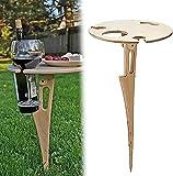 JackRuler Klapptisch für den Außenbereich, tragbar, aus Holz, Picknick-Tisch, Mini-Klapptisch, Weintisch für Garten, Outdoor, Camping, Picknick, Strand
