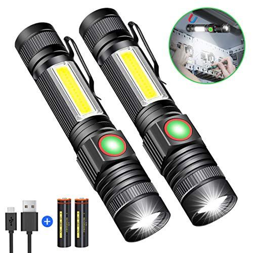 Taschenlampe LED Magnet USB Aufladbar, Karrong Zoom Taschenlampen 4 Modi für Outdoor Camping
