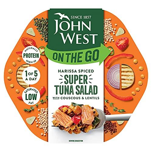John West On The Go Harissa - Insalata di tonno super speziata 220 g, ricca di proteine, a basso contenuto di grassi saturi