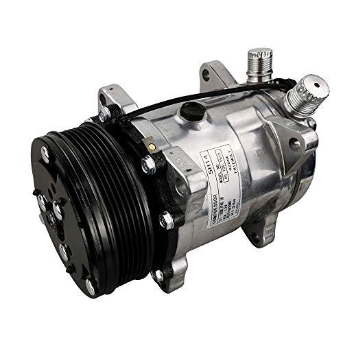 ACTECmax Universal A/C Compressor with Black 6PK Clutch Sanden 508 5H14 R134A Serpentine Belt