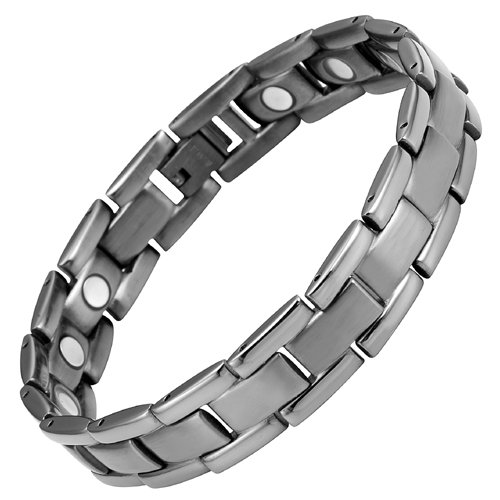 Willis Judd Mens Titanium Magnetic Therapy Bracelet Gunmetal Color with Size Adjusting Tool