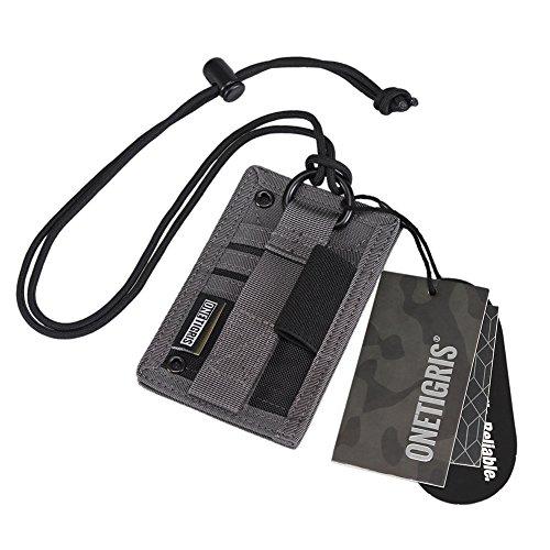 OneTigris Tactical ID Card Holder Hook & Loop Patch Badge Holder Neck Lanyard Key Ring and Credit Card Organizer (Shadow Gray-500D Codura)