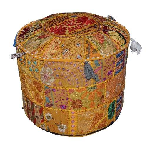 Rajasthali Indien Pouf Tabouret Vintage Patchwork embelli avec Patchwork Salon ottoman couverture, 46 x 33 cm