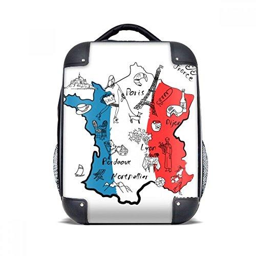 """DIYthinker Bandera nacional Mapa de la ciudad Francia Landmark estuche rígido de transporte para hombro Niños Mochila 15"""" Regalo"""