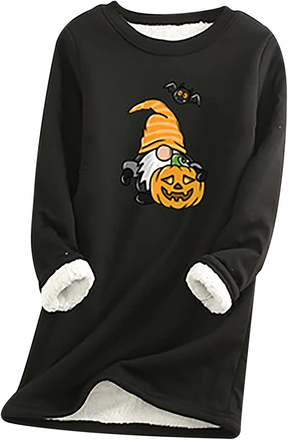 Halloween Tunic Sweater for Womens Cute Car Cat Printed Long Sleeve Fleece Lined Warm Sweatershirt Nightgowns