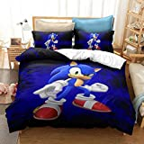 Siyarar Kids Sonic The Hedgehog Bedding Sets for Boys Queen Size 3 Pieces Duvet Cover Bed Set 3D Cartoon Theme S91