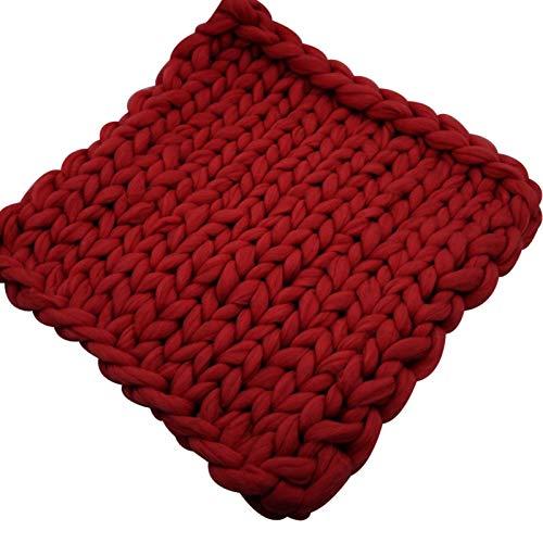 Manta De Punto Grueso Manta De Lana De Punto Grueso Manta De Punto Grueso para Cubrir La Cama (Color : Wine Red, Size : 100x200cm)