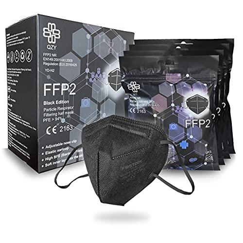 QZY FFP2 Maske Schwarz [Black Edition] Schachtel à 20 Stück CE Zertifiziert Masken Mundschutz, Mit Gummiband und anpassbarem Nasenbüge [5 Filtrationsschichten] Schwarze