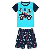 Morbuy Pijamas Dos Piezas para Niños de Manga Corta, Moda Coche Aeronave Patrón Juego de Pijamas de Algodón, Verano Pijamas de Cuello Redondo con Pantalones Cortos (Carro Azul,2T)