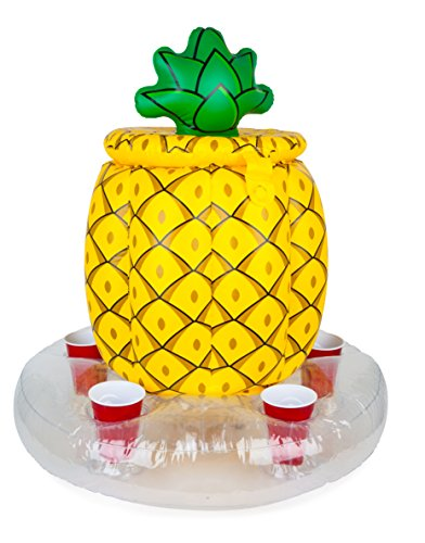 BigMouth Inc Inflatable Pineapple Cooler, Holds 5 Drinks, Easy to Inflate Floating Pool Cooler, Built-in Ice Chest