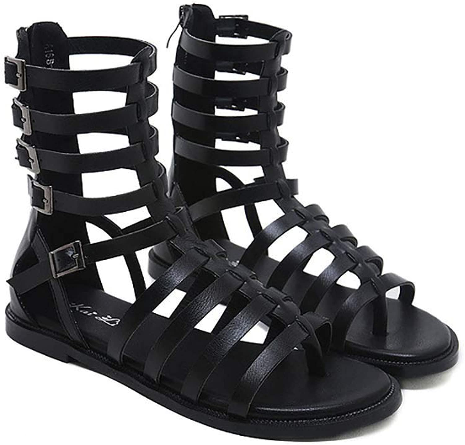 Women's Open Toe Lace Up Sandals, Strappy Sandals Openwork Sandals Women's Open Toe Lace Up Sandals Ladies Roman Lace Up Sandals Women's,Black,40