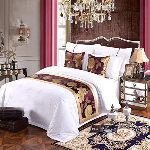 Chemin de lit Literie étoiles hôtel couvre-lit coussin haut de gamme lit et petit-déjeuner villa-style coton suspendu couvre-lit drapeau drapeau fin pad lit fin serviette, Bayberry Lotus-Rice 64-E31