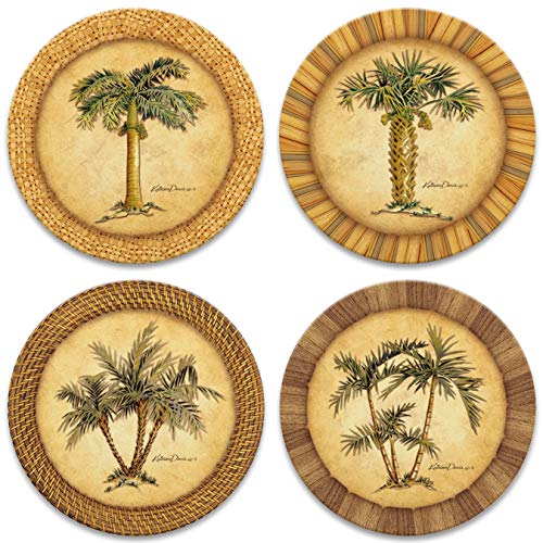 "CoasterStone AS1990 Absorbent Stone Coasters,""Palm Trees"", Multi-Colored"