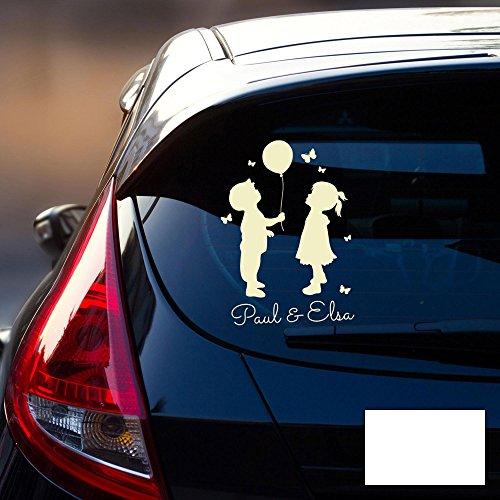 ilka parey wandtattoo-welt Autotattoo Kinder Autoaufkleber Heckscheibe Junge und Mädchen Luftballon Wunschname M2196 - ausgewählte Farbe: *weiß* ausgewählte Größe: *M - 20cm breit x 30cm hoch*