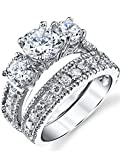 Sterling Silver Past Present Future Bridal Set Engagement Wedding Ring Band W/Cubic Zirconia