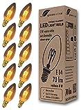 10x Lampadina a filamento LED greenandco Vintage grigio argento E14 2W (equivalente a 8W) 70lm 2200K (bianco caldo) 360° 230V AC Vetro, nessun sfarfallio, non dimmerabile