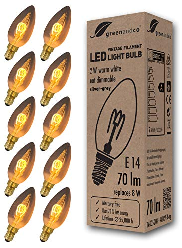10x Bombilla de filamento LED greenandco® Vintage gris plata E14 C35 2W (corresponde a 8W) 70lm 2200K (blanco cálido) 360° 230V vidrio, no regulable