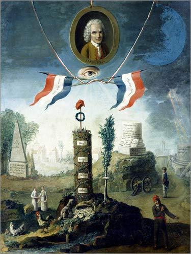Leinwandbild 60 x 80 cm: Allegorie der Revolution mit Bildnis von Jean-Jacques Rousseau von Nicolas Henri Jeaurat de Bertry / Bridgeman Images - fertiges Wandbild, Bild auf Keilrahmen, Fertigbild a...