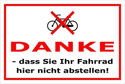 Melis Folienwerkstatt Schild - Fahrrad abstellen - 30x20cm | Bohrlöcher | 3mm Aluverbund – S00050-016-B -20 Varianten