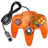 suily Classic Controller Wired Game Controller Retro Joystick for N64 Console N64 Gamepad(Clear Orange)