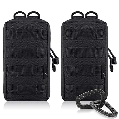 Check Out This FUNANASUN 2 Pack Molle Pouches Tactical Compact Water Resistant EDC Pouch (Black)